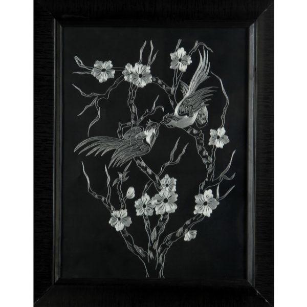تابلو خراش فلز «پرندگان روی شاخه و گل»