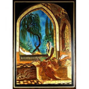 تابلو معرق چوب «دختر حافظ خوان»