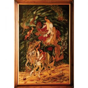 تابلو معرق چوب «ضامن آهو ۱»