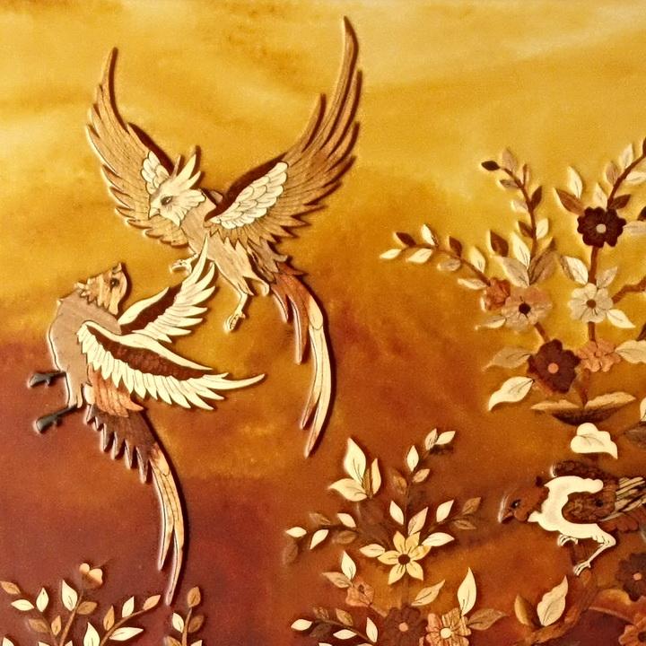 تابلو معرق چوب «گل و مرغ»