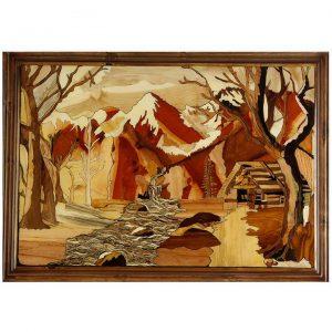 تابلو معرق چوب «کوه و رودخانه»