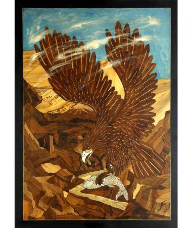 تابلو معرق چوب «عقاب و ماهی»