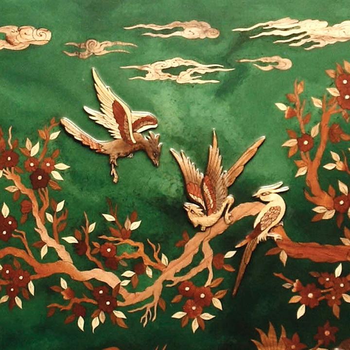تابلو معرق چوب «پرندگان» (زمینه سبز)