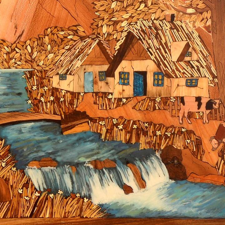 تابلو معرق چوب «پاییز در روستا»